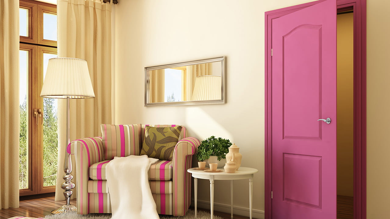 Drzwi w kontrastowych kolorach