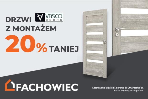 Drzwi Vasco z montażem 20% taniej.