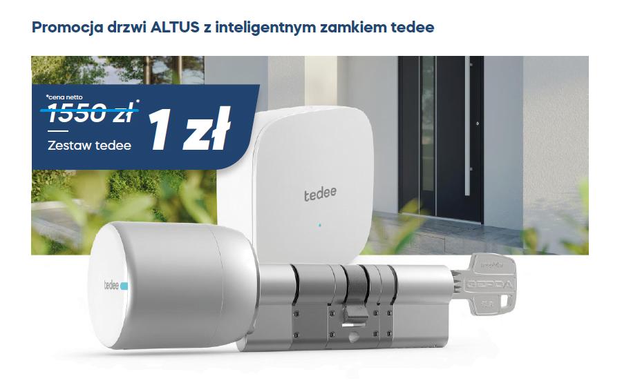 <p>Do 31 stycznia 2021 r. do każdych drzwi zewnętrznych aluminiowych Altus możecie zamówić w komplecie zamek tedee z zestawem w cenie 1 zł! O nowym, innowacyjnym rozwiązaniu mechanizmu napędowego otwierania drzwi przeczytacie więcej klikając w przycisk szczegóły promocji.</p>